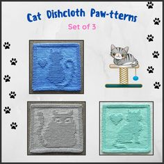 CAT Dishcloth Knitting Patterns, Set of 3, by Aunt Susan's Closet. Dishcloth Knitting Patterns, Knit Dishcloth, Cat Position, Purl Stitch, Fat Cats, Cat Sitting, Cat Face, Washing Clothes, Clothing Patterns