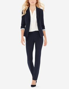 Excellent  NEW Navy Blue White Women39s Size 14 Crosshatch Pant Suit Set 200