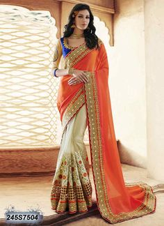 Affluent Beige and Orange Coloured Net Embroidered Saree