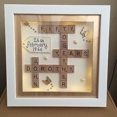 BOXED LED LIGHT 3D FRAME SCRABBLE SPECIAL WEDDING SILVER GOLDEN ANNIVERSARY GIFT in Home, Furniture & DIY, Celebrations & Occasions, Other Celebrations & Occasions | eBay
