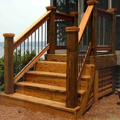 Browse our domain for a lot more relating to this amazing deck garden Wood Railings For Stairs, Stair Railing Kits, Outdoor Stair Railing, Front Porch Railings, Patio Stairs, Front Stairs, Front Deck, House Front, Railing Ideas
