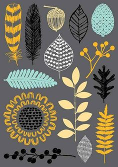 """""""Nature Trail limited edition giclee print by Eloise Renouf. retro style scandi chic pattern for leaf print and flowers great designs for use in soft furnishings or wall art in contemporary country or scandi chic home decor Art And Illustration, Illustrations, Art Design, Graphic Design, Doodle Drawing, Surface Pattern Design, Art Plastique, Designs To Draw, Printmaking"""