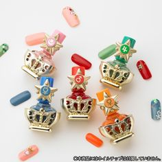 "The second item from Premium Bandai's Sailor Moon cosmetic series ""Sailor Moon R Miracle Romance Nail Collection"" is transformation stick nail polish! Pearl Blue, Pink, and Green - Matte Red and Orange."