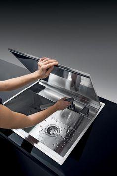 cm built-in and flush Lab sink with cover - Barazza srl Kitchen Sink Taps, Kitchen Pantry, Modern Kitchen Design, Interior Design Living Room, Küchen Design, House Design, Professional Kitchen, Cuisines Design, Kitchen Furniture