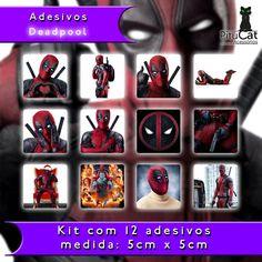Pitucat Acessórios: Deadpool 12 adesivos colecionáveis 5cm x 5cm Ryan Reynolds Marvel