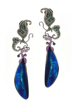 Wendy Yue opal drop earrings with fantasy vintage flair.