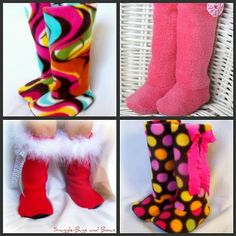 ADORABLE and inspiration for doll boots using fleece!