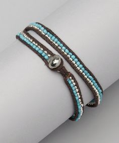 Another great find on #zulily! Brown & Turquoise Wrap Bracelet #zulilyfinds