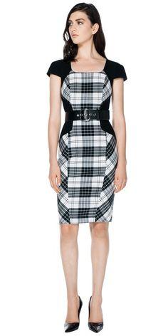 Dresses | Check Double Weave Cap Sleeve Dress