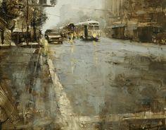 Market Street in Green - HSIN-YAO TSENG - oil on panel - Fine Art - Cityscapes