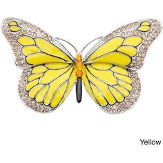 Silvertone Austrian Crystal and Enamel Butterfly Pin ($19) ❤ liked on Polyvore featuring jewelry, brooches, accessories, brooch, yellow, yellow jewelry, pin jewelry, silver tone jewelry, butterfly jewelry and enamel brooches