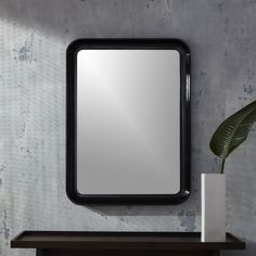 Shop rakka black lacquer mirror.   Minimal Japanese style meets glossy Hollywood glam in mirror form.  Always searching for that special detail, designer Ross Cassidy trims the perimeter with a decorative outer lip that leaves a lasting impression.