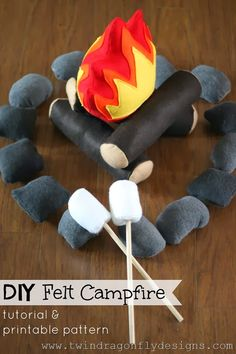 Felt Campfire Tutorial and Pattern ~ One For The Boys Dragonfly Designs: DIY Felt Campfire Tutorial and Pattern ~ One For T.Dragonfly Designs: DIY Felt Campfire Tutorial and Pattern ~ One For T. Felt Diy, Felt Crafts, Diy Crafts, Sewing For Kids, Diy For Kids, Crafts For Kids, Sewing Tutorials, Sewing Projects, Craft Projects