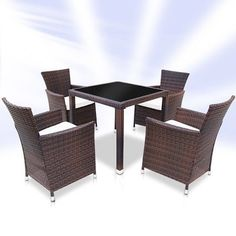 Garden Furniture Set Coffee Dining Table Chairs Rattan Outdoor Patio Classic for sale online Rattan Garden Furniture, Furniture Dining Table, Table And Chairs, Outdoor Furniture Sets, Outdoor Dining, Outdoor Chairs, Outdoor Decor, Shops, Leather Bed