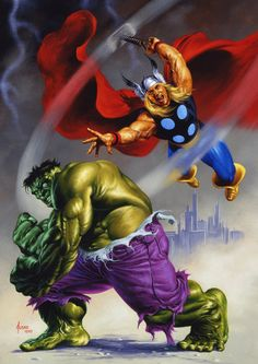 The Marvel Age of Comics, westcoastavengers: Thor and Hulk by Joe Jusko Hulk Marvel, Hulk Vs Thor, Marvel Comics Superheroes, Marvel Comic Books, Marvel Characters, Marvel Heroes, Comic Books Art, Comic Art, Book Art