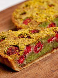 Pistachio and raspberry Bakewell tart. James Mackenzie puts a spin on the classic Bakewell tart with the addition of pistachio and zingy fresh raspberries Bakewell Tart, Tart Recipes, Sweet Recipes, Cooking Recipes, Sweet Pie, Sweet Tarts, Great British Chefs, Sweet Pastries, Just Cooking