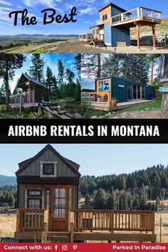 Pack your map and plan you next road trip to Montana. 19 unique places to stay after your Big Sky hike. The best Airbnb rentals near Montana's National Parks. Epic tree houses, tiny homes, yurt or shanty near Glacier. Montana National Parks, Flathead Lake, Airbnb Rentals, Luxury Camping, Tree Houses, Big Sky, Mountain View, Tiny Homes, Glamping