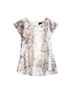 Silk Confetti Print Ruffle Top | Tops by Cynthia Rowley