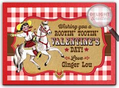 Vintage Cowgirl Valentine's Day Card, retro 1950's style Valentine cards, adorable and unique classroom Valentine cards ideas, professionally printed and hand mounted Valentine cards for children