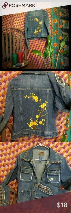 Blue Asphalt, MEDIUM jean jacket This is one of the most unique jean jackets I have come across. With it's embroidered collar and front left pocket, to it's distressed look that you will find all over the coat. Every button is in tact, zippers work flawlessly. ? I've added my personal touch w a beautifully bright yellow flowering branch on the back of the coat to make it pop and finish the flow of this wickedly awesome jacket!   ?This jacket fits true to size. Blue Asphalt Jackets & Coats…