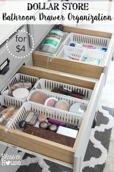 Dollar Store Bathroom Drawer Organization 2019 Keep drawers organized with super cheap bins from the dollar store! The post Dollar Store Bathroom Drawer Organization 2019 appeared first on Apartment Diy. Dollar Store Hacks, Dollar Stores, Dollar Dollar, Dollar Items, Bathroom Drawer Organization, Organization Hacks, Organizing Ideas, Organization Ideas For Bedrooms, Organize Bathroom Drawers