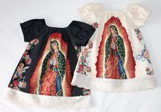 Items similar to Mexican Our lady of Guadalupe baby dress in Black or Cream sizes Newborn to size 8 girls on Etsy Mexican Outfit, Mexican Dresses, Cute Girl Outfits, Kids Outfits, Cut Shirt Designs, Mexican Quinceanera Dresses, Mexican Babies, Baby Christening, Sweet Dress