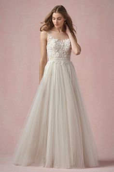 Willowby Dress Elodie Why am I so in love with dresses with nude linings under bright white tulle... this is gorgeous