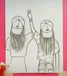 Bff Drawings, Girl Drawing Sketches, Art Drawings Sketches Simple, Doodle Art Drawing, Art Drawings Beautiful, Drawings Of Friends, Pencil Art Drawings, Cool Drawings, Drawing Of Best Friends