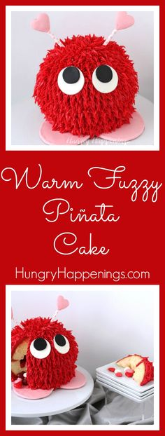 Warm Fuzzy Piñata Cake and a Pink Marshmallow Meringue Pie- Valentine's Day Sweets Cupcakes, Cupcake Cookies, Mini Tortillas, Valentines Day Cakes, Valentine Crafts, Valentine Ideas, Piniata Cake, Hedgehog Cake, Pink Marshmallows