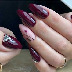 # burgundy Acrylic short oval nails design for summer nails, Cute natural oval nails for spring nails, Gel oval nails design acrylic Fancy Nail Art, Fancy Nails, Cute Nails, Pretty Nails, Bright Nail Designs, Acrylic Nail Designs, Nail Art Designs, Acrylic Nails, Nails Design