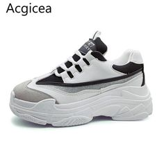 reputable site 8d7e2 0bf31 Size35-43 2018 New Spring Women Shoes For Woman Casual Shoes Wild Platform  Heels Female Leisure Black   White Letters Sneakers