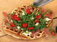 Focaccia Waffles - a very cool way to use the waffle iron - check out Rachel Ray's different things to make with waffle iron- amazing & no mess & healthier methods of cooking most things