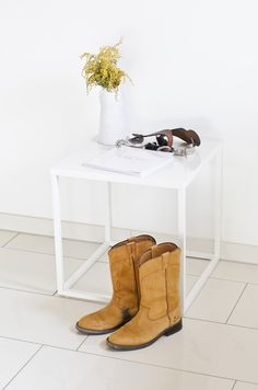 Scandinavian Interior Home Table Decoration White Photobook Flower Western Boots