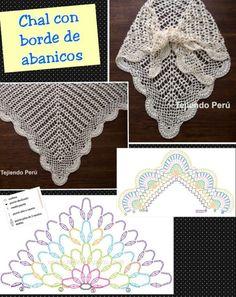 new Ideas for crochet shawl triangular charts Poncho Crochet, Beau Crochet, Pull Crochet, Crochet Shawls And Wraps, Crochet Scarves, Crochet Clothes, Crochet Lace, Free Crochet, Crochet Symbols