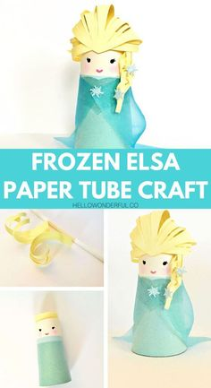 Frozen Elsa Paper Tube Craft for kids Fun recycled craft inspired by movie Frozen. Disney Diy, Disney Crafts For Kids, Paper Crafts For Kids, Toddler Crafts, Preschool Crafts, Art For Kids, Kids Crafts, Craft Projects, Disney Frozen Crafts