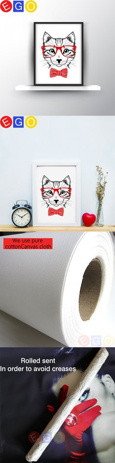 Hipster cat with red glasses Canvas Art Print Poster Wall Pictures oil painting for Home bedroom Decoration Wall Decor frameless $8.9
