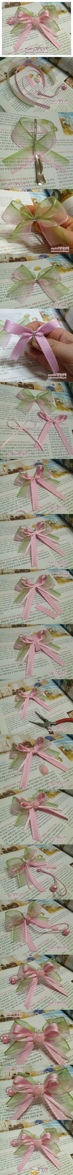 layered sheer ribbon bow for hair accessory, or just add the bow to a project