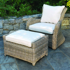 Hand-crafted from the finest all-weather materials, our Sag Harbor deep seating lounge chair is a beautiful addition to any natural setting. #Nantucket #Patio