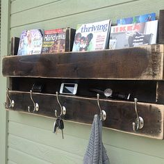 "Pallet shelf / coat rack  Great idea. 39"" wide"