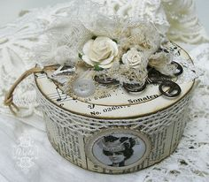 Shabby Chic Inspired: altered box Made from empty duct tape type cardboard roll - would make a very nice present!