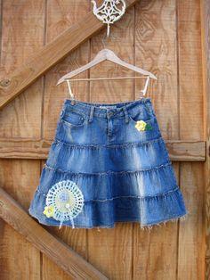 Boho denim skirt / cowgirl denim skirt upcycled by ShabyVintage, $37.99