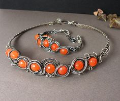 Silver wire wrapped bracelet, orange carneolin, wirework, ooak, handmade,. $270.00, via Etsy.