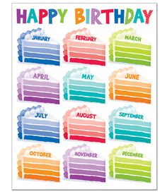 The brand new Painted Palette Happy Birthday Chart. Celebrate birthdays throughout the year with these super cute ombre cake pieces. Birthday Chart Classroom, Birthday Charts, Preschool Birthday Board, Kindergarten Classroom Decor, Classroom Themes, Classroom Organization, Birthday Dates, Happy Birthday, Cake Birthday