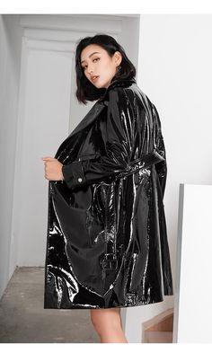Leather Trench Coat, Leather Jackets, Pvc Raincoat, Pvc Coat, Unisex, Rain Wear, Vinyl, Patent Leather, High Fashion