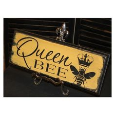 Queen Bee Sign/Great Mother's Day Gift/Queen Sign/Royal Sign/Wood... ❤ liked on Polyvore featuring home, home decor, wall art, words, wooden signs, wood wall art, wooden home decor, wood signs and wood home decor