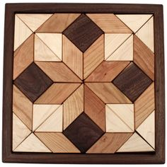 Camden Rose Maple & Walnut Wood Mosaic Puzzle, Square by… Reclaimed Wood Wall Art, Wooden Wall Art, Wood Art, Barn Quilt Patterns, Wood Patterns, Diy Wood Projects, Woodworking Projects, Woodworking Patterns, Woodworking Plans