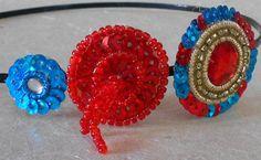 Red Blue Gold Sequenced Circles' Headband by saivijayanaidu, $15.00
