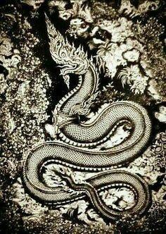 នាគខ្មែរ Khmer Tattoo, Thai Tattoo, Dragon Tattoos For Men, Men Tattoos, Temple Tattoo, Southeast Asian Arts, Thai Art, Art Inspiration Drawing, Buddha Art