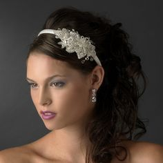 White Beaded Flower Crystal Bridal Wedding Headband - on Sale