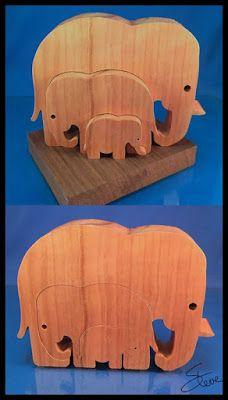 Easy Nested Elephant Family Scrollsaw Pattern from #SteveGood #3blade…                                                                                                                                                     Mais